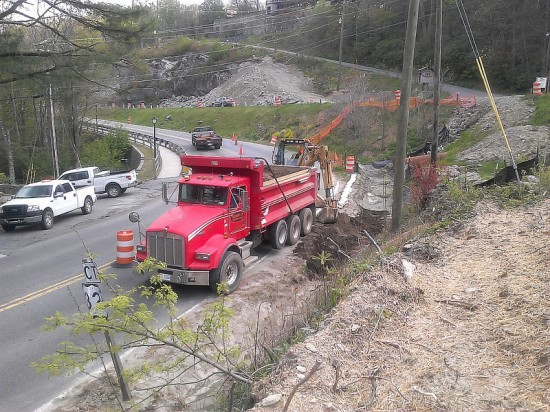Silt removal and cleaning out ditches are part of the erosion control operations that required a lane closure on U.S. 321 Business near Chetola near the intersection of U.S. 321 in Blowing Rock. Photo:NCDOT