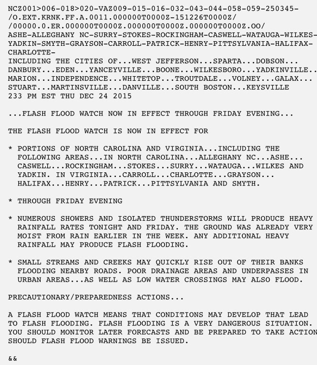 Flash Flood Watch Extended Until Christmas Evening