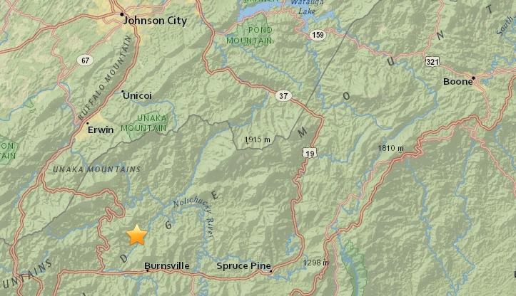 Burnsville NC earthquake March 1
