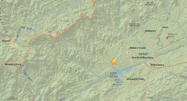 earthquake Wilkes County July 23 map