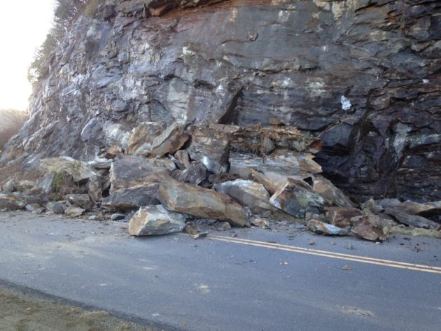 Blue Ridge Parkway Closed Near Mt. Mitchell Due To Rock Slide