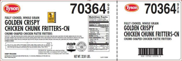 Tyson Foods Inc. Recalls Ready-To-Eat Breaded Chicken Products Due to Misbranding and Undeclared Allergens