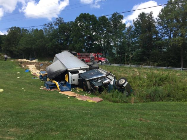 Overturned Tractor-Trailer Leads To Delays On 421 Friday