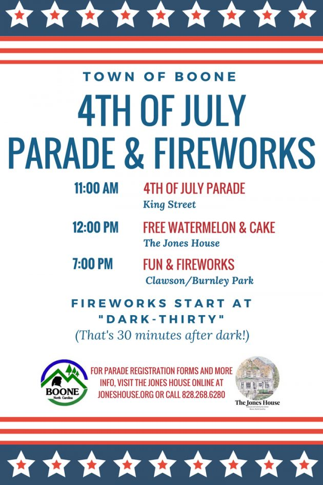 Town Of Boone Wednesday July 4, 2018 Parade & Event Schedule