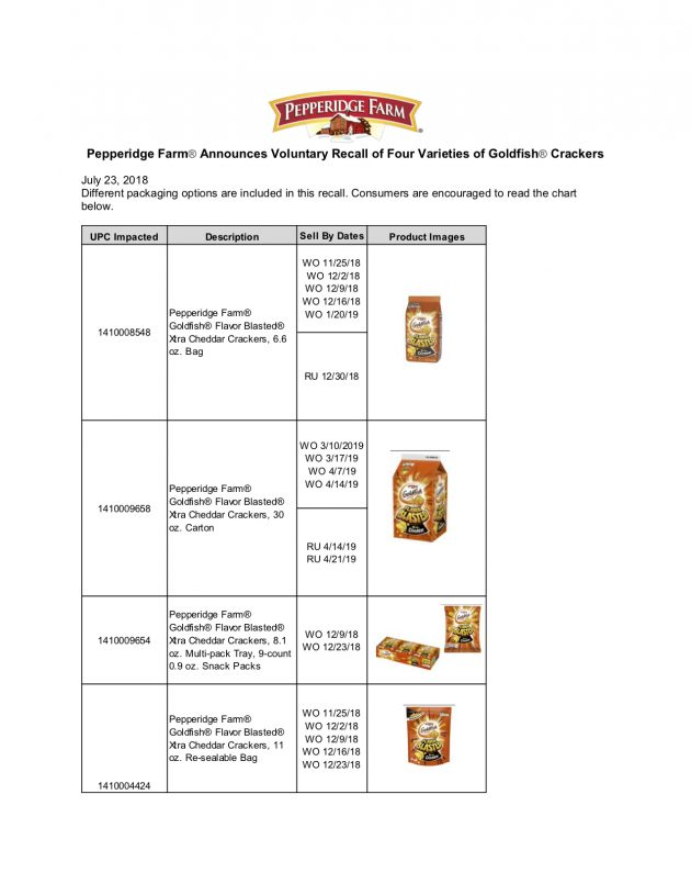 Recall: Pepperidge Farm Announcing a Voluntary Recall of Four Varieties of Goldfish® Crackers