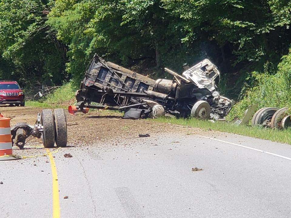 Dump Truck Wreck Closes 421 At Bottom Of Wilkes Mountain On Wednesday