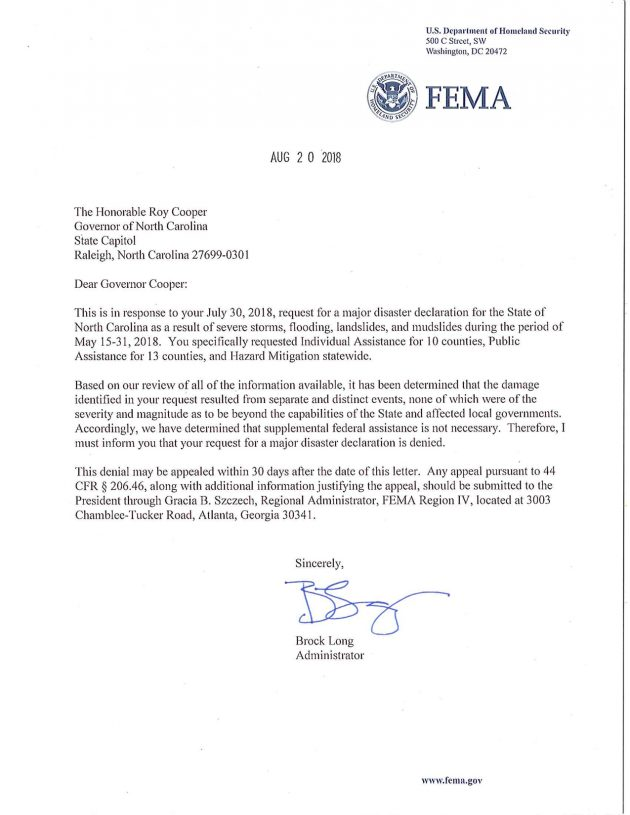 North Carolina To Appeal FEMA's Denial of Request For Help With Western NC Floods & Mudslides
