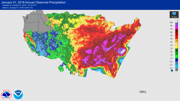 2018 Becomes All Time Wettest Year Locally, Some Locations Record Over 100 Inches of Precipitation