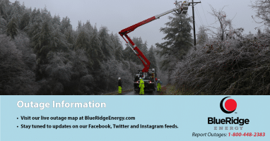 Blue Ridge Energy 2:30 pm Sunday OUTAGE UPDATE: Crews Continue