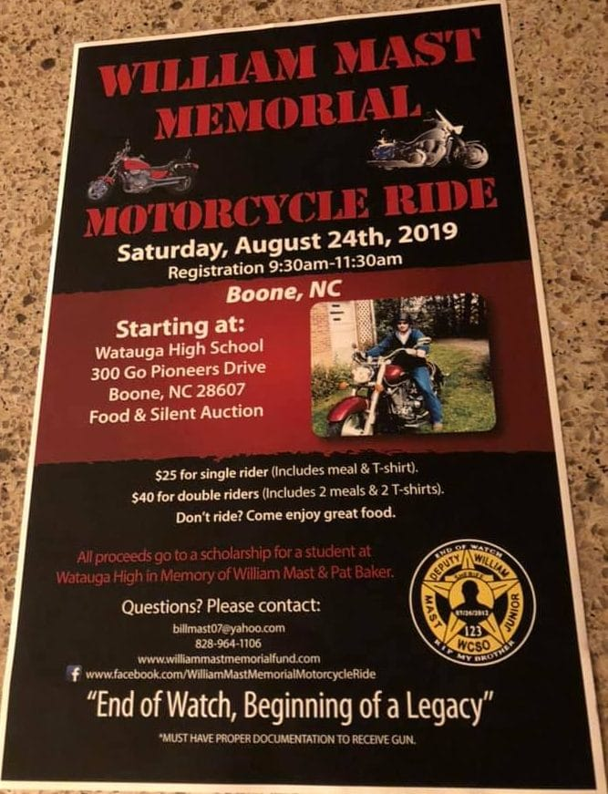 2019 William Mast Jr. Memorial Motorcycle Ride Takes Place Saturday August 24