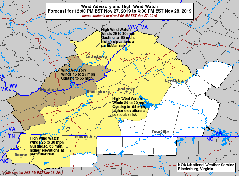 High Wind Watch In Effect From Wednesday Afternoon Through Thursday Afternoon - Nov 27-28, 2019