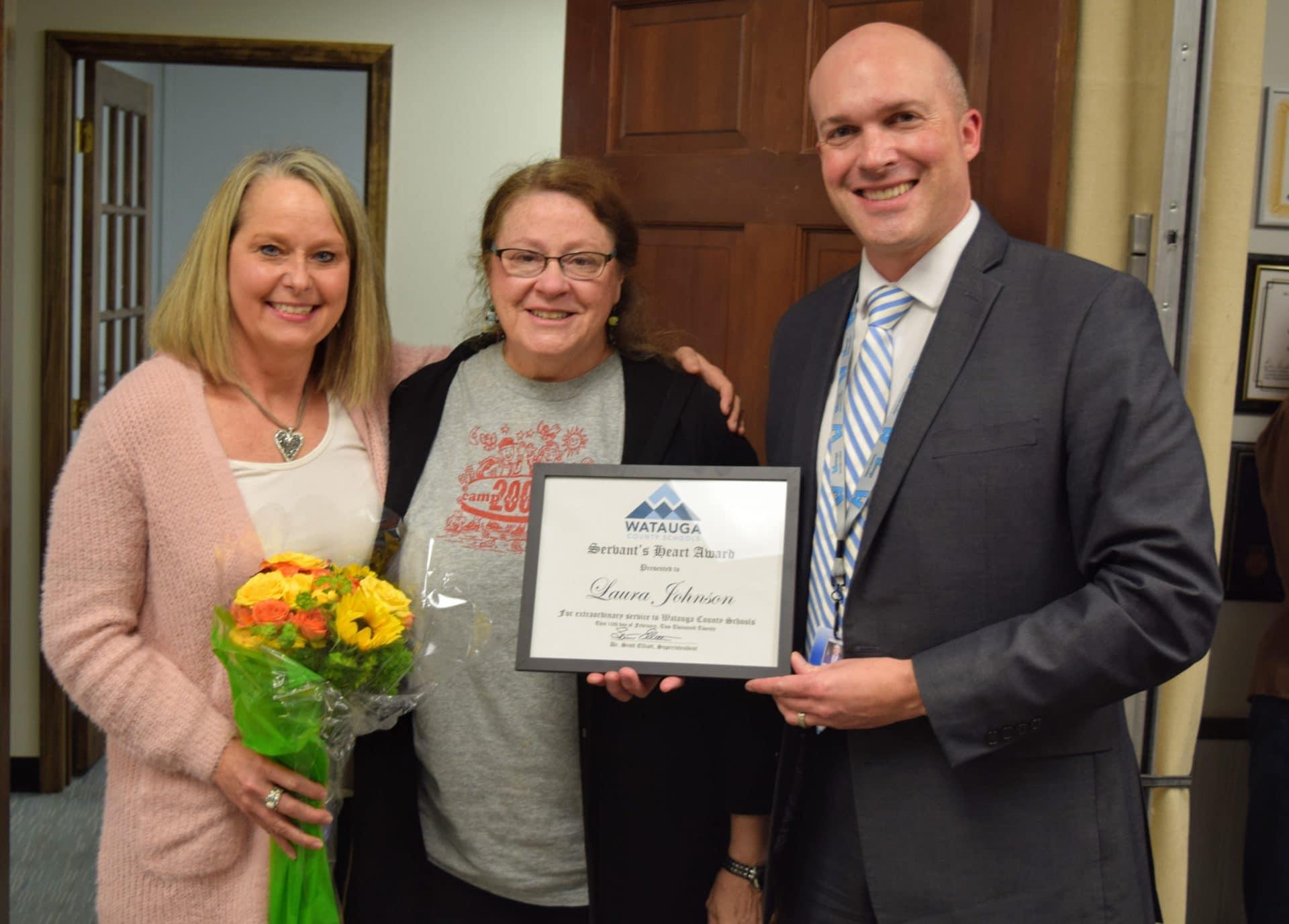 Laura Johnson presented with Servant's Heart Award