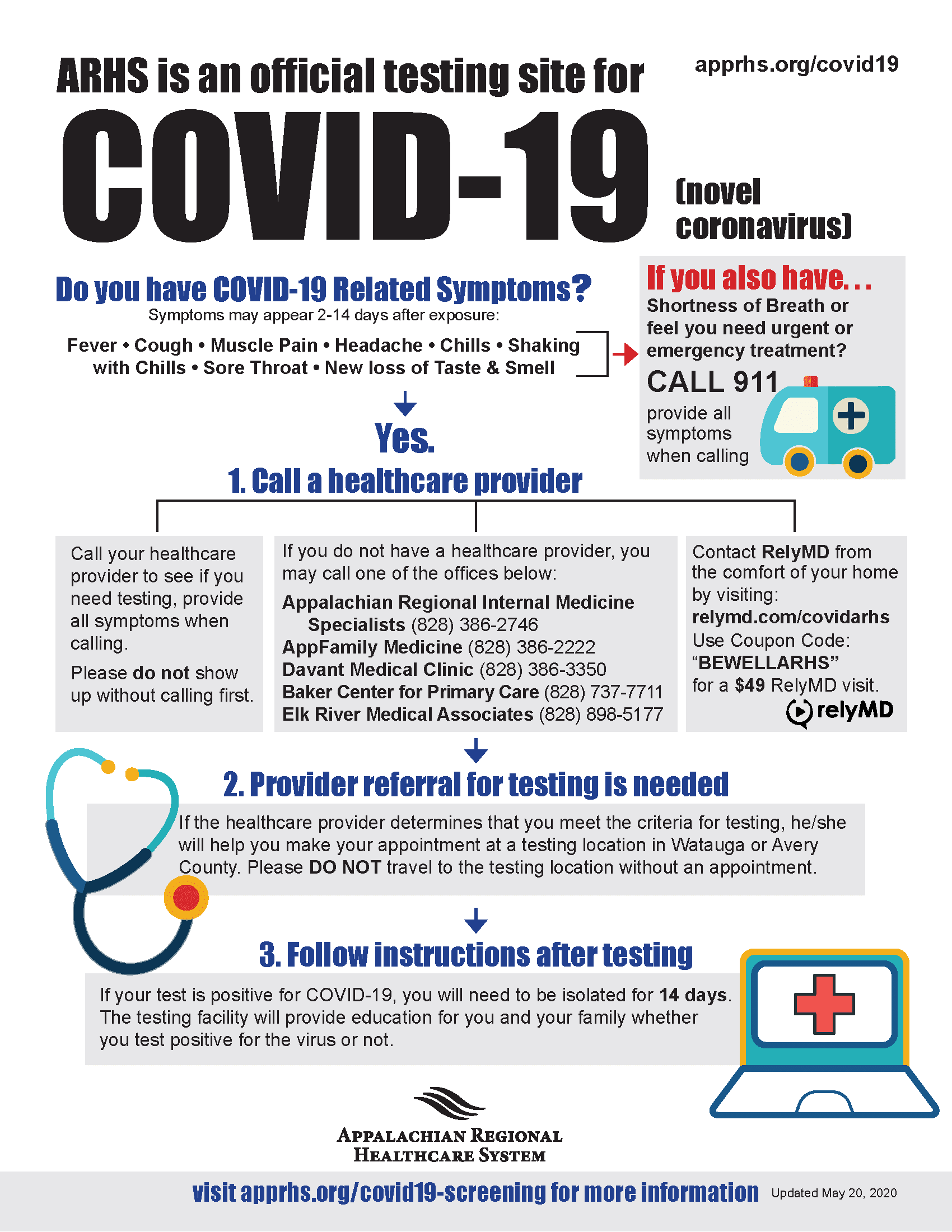 ARHS expands COVID-19 screening options in Watauga and Avery Counties