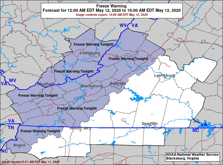 Freeze Warning in effect from midnight to 10am - May 12, 2020