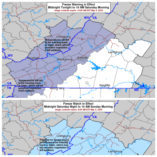 Freeze Warning in effect overnight, Freeze Watch in effect Saturday night through Sunday