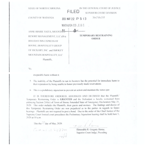 Temporary Restraining Order Issued against Town of Boone