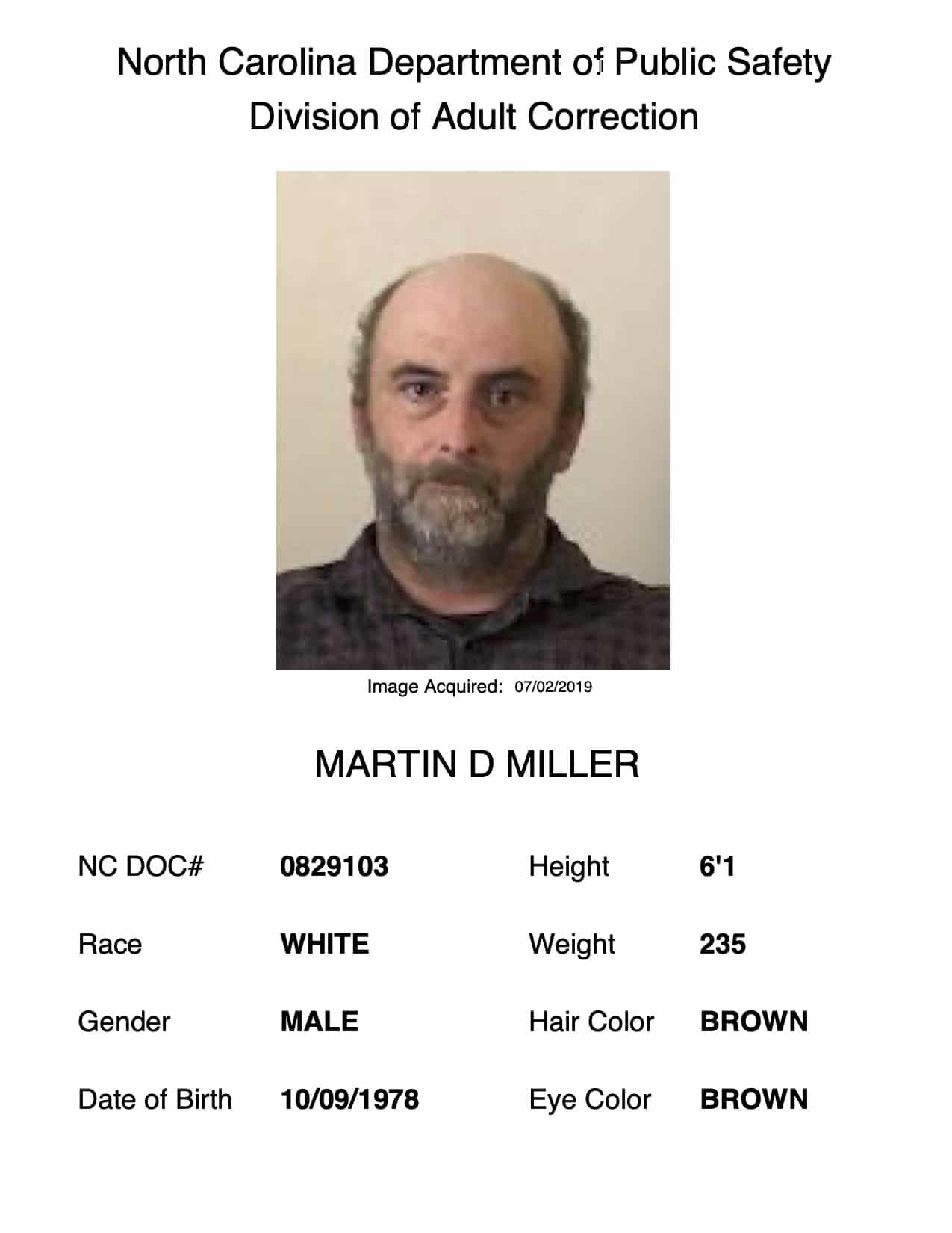 Crime Stoppers & NCDPS seek help in locating Martin D Miller