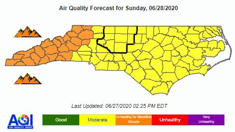 Air Quality Alert in effect until 12am Monday morning - June 27-29, 2020