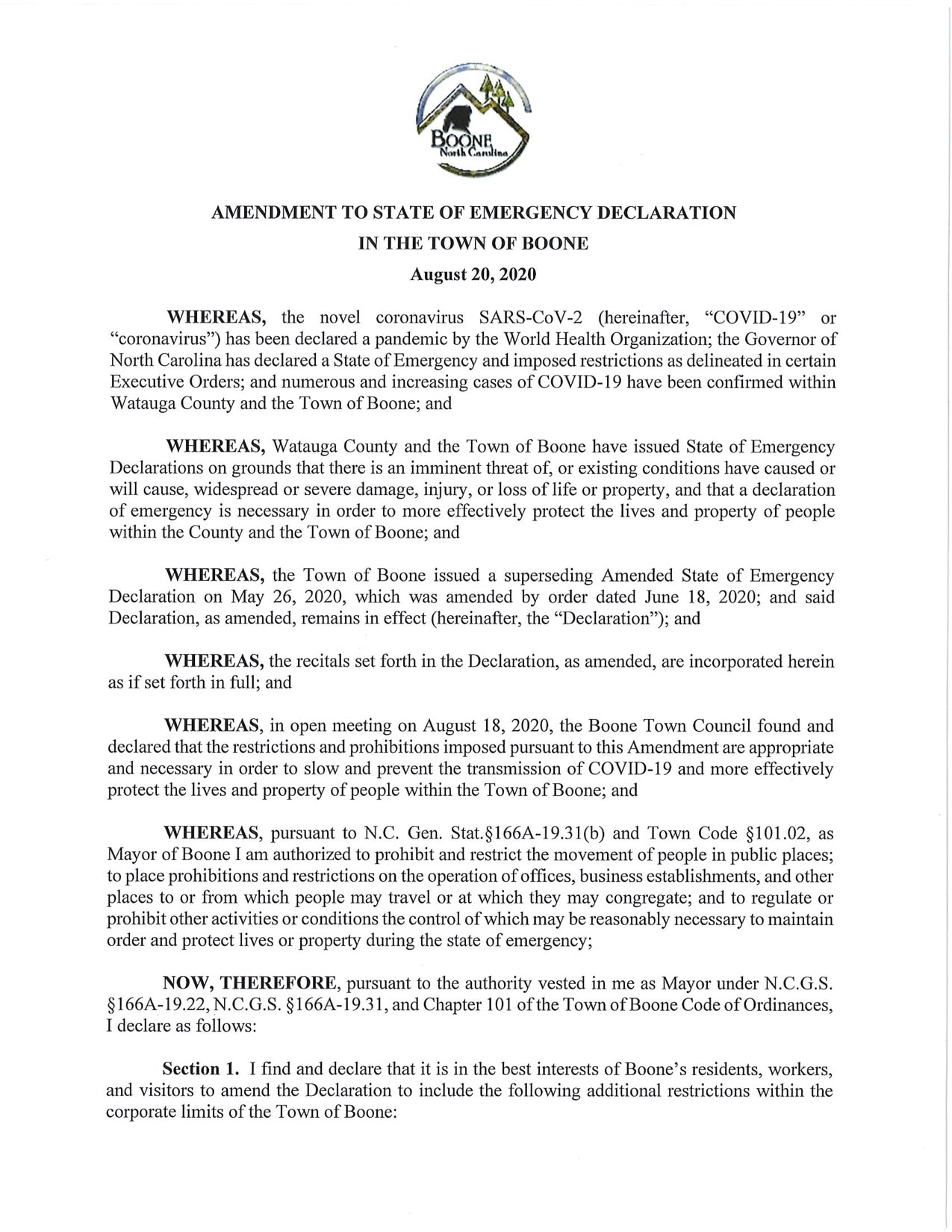 Town of Boone amends State of Emergency Declaration