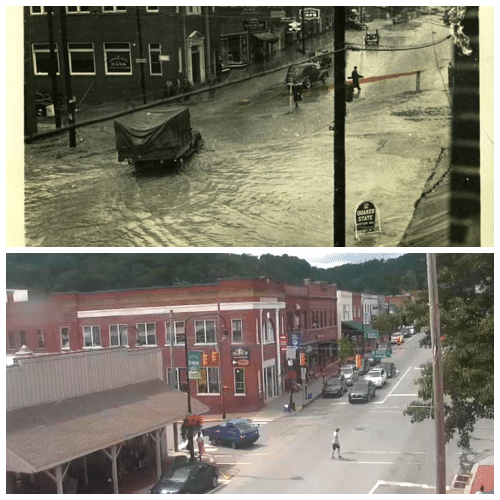 80 Years Apart - 1940s Flood Anniversary Noted, Downtown Boone Aug 1940/Downtown Boone Aug 2020
