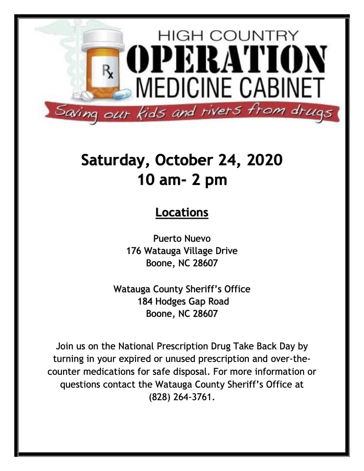 Operation Medicine Cabinet to take place Saturday October 24, 2020