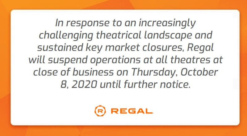 Regal Cinemas  to Temporarily Suspend U.S. Theatre Operations on October 8