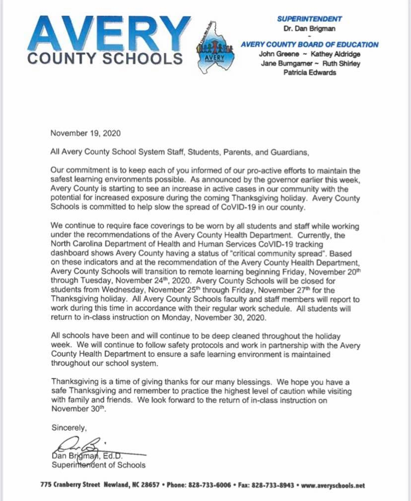 Avery County Schools will move to remote learning beginning Friday Nov 20 due to COVID-19