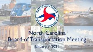 North Carolina Board of Transportation meeting -January 8, 2021