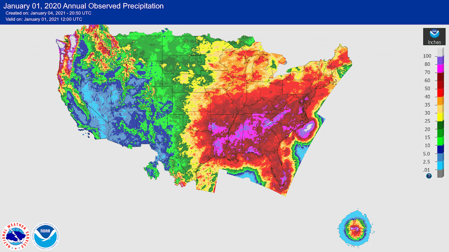 2020 Becomes Second All-Time Wettest Year Locally