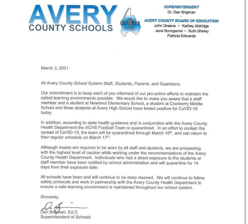 Avery High Football Team quarantined through March 16