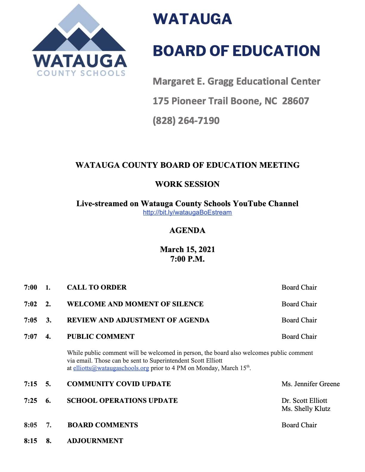 Watauga  Board of Education to hold special meeting to address return to K-12 in-person schooling