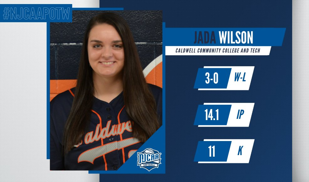 Jada Wilson Named NJCAA Div. II Pitcher of the Week
