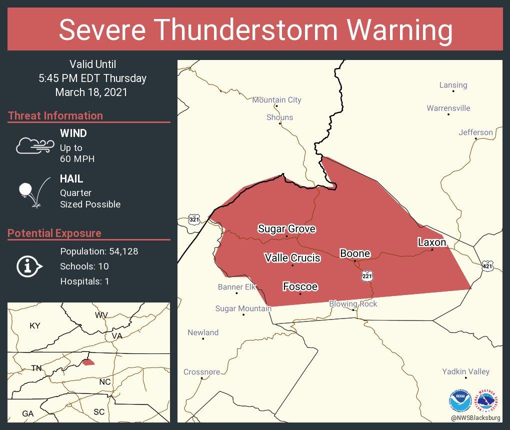 Severe Thunderstorm Warning for Watauga County, NC, Avery County, NC, Johnson County, TN - March 18, 2021