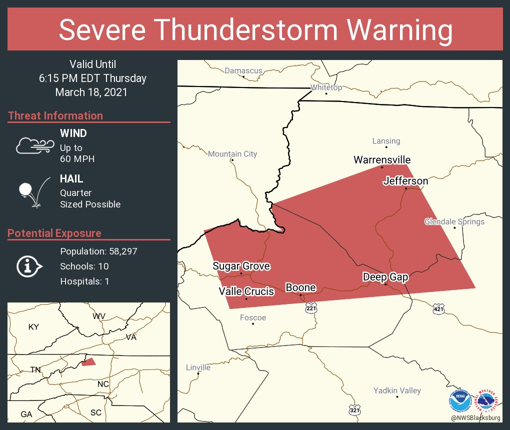 Severe Thunderstorm Warning for Watauga County, NC, Ashe County, NC, Wilkes County, NC, Johnson County, TN - March 18, 2021