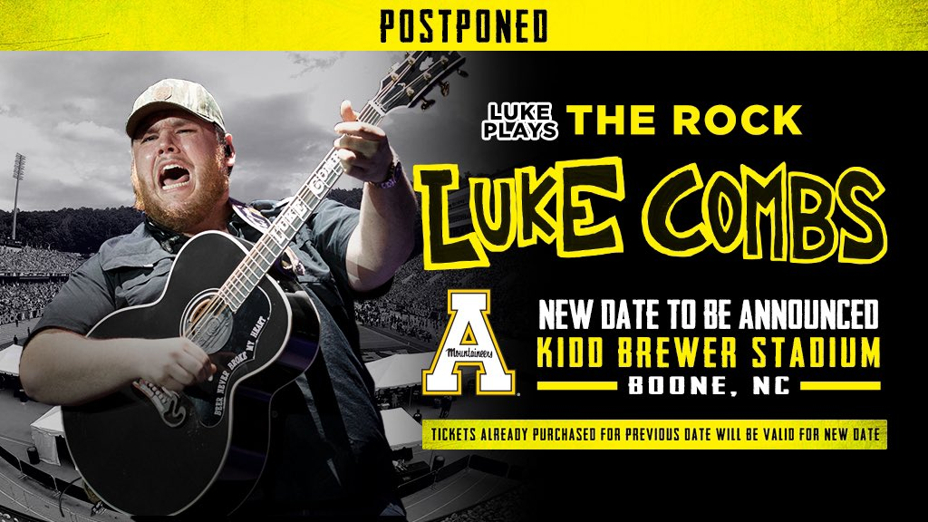 Luke Combs concert at Kidd Brewer Stadium postponed again