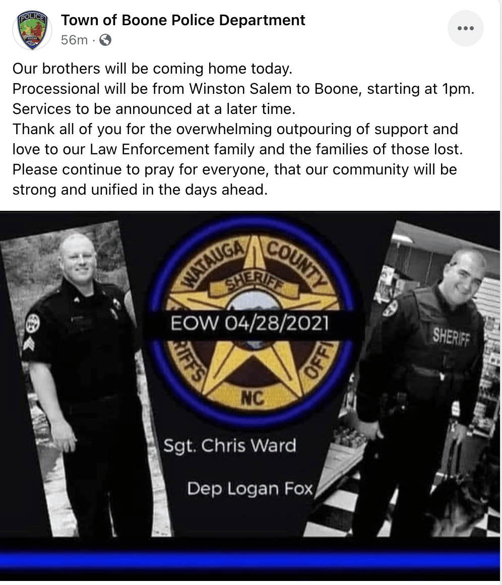 Procession today to bring back the bodies of K-9 Deputy Logan Fox and Sgt. Chris Ward