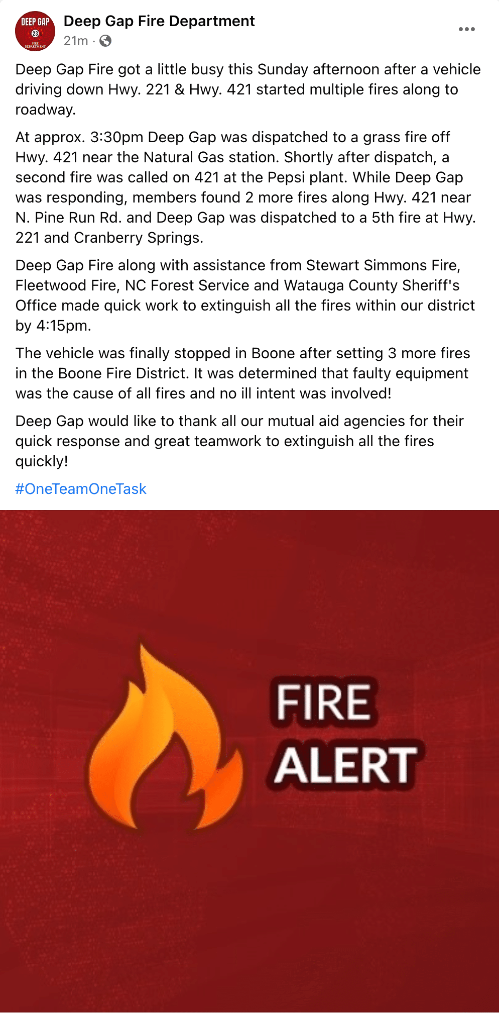 Multiple grass fires in Deep Gap & Boone on Sunday afternoon