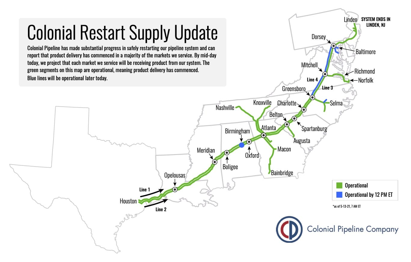 Media Statement Update: Colonial Pipeline System Disruption Thursday, May 13, 4:40 p.m