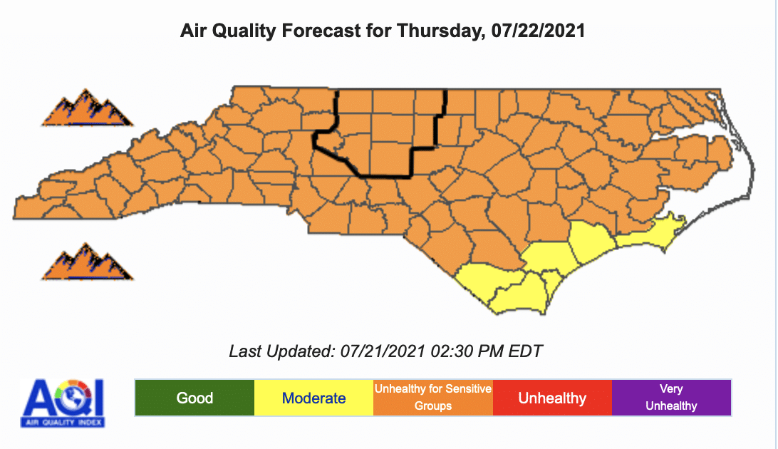 Air Quality Alert in effect until 12am Thursday night July 22, 2021