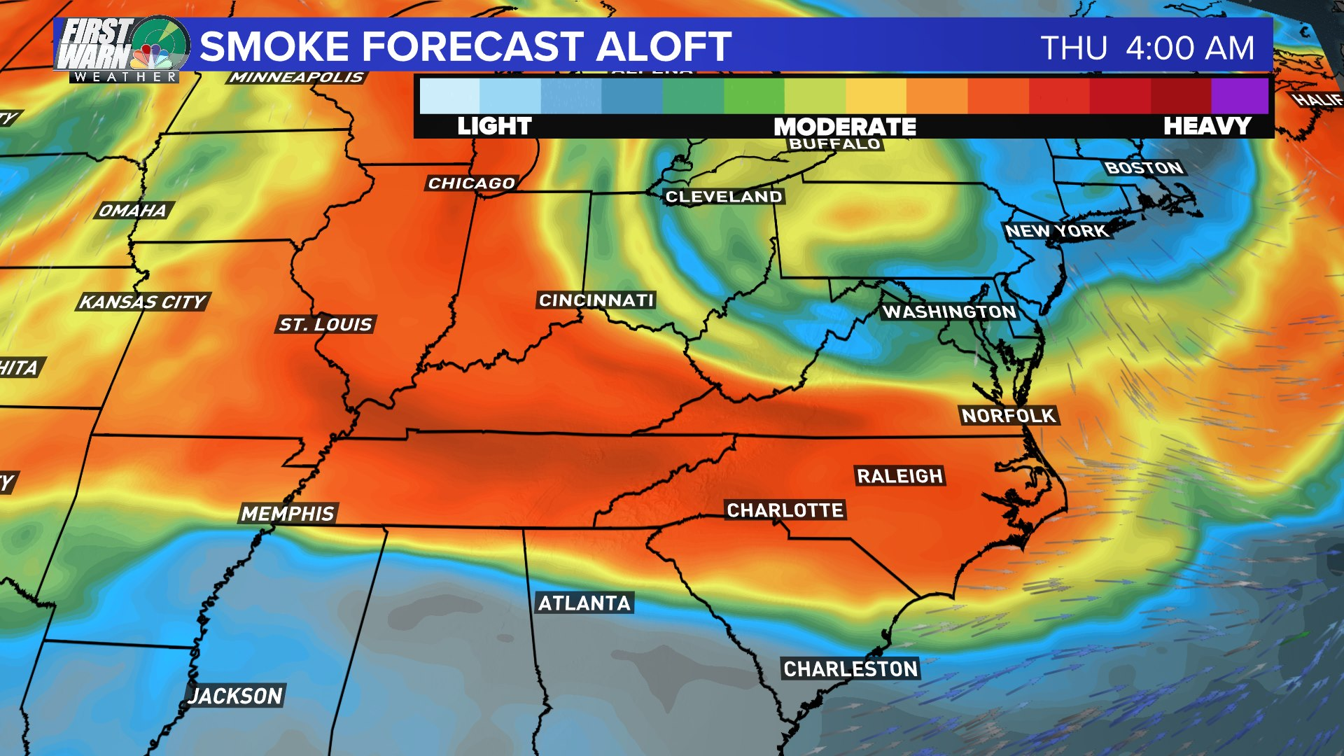 Smoke from wildfires out west in High Country, North Carolina and East Coast