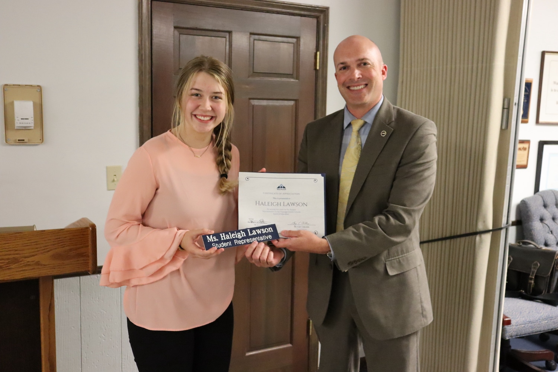 Student School Board representative Haleigh Lawson presented Servant's Heart Award