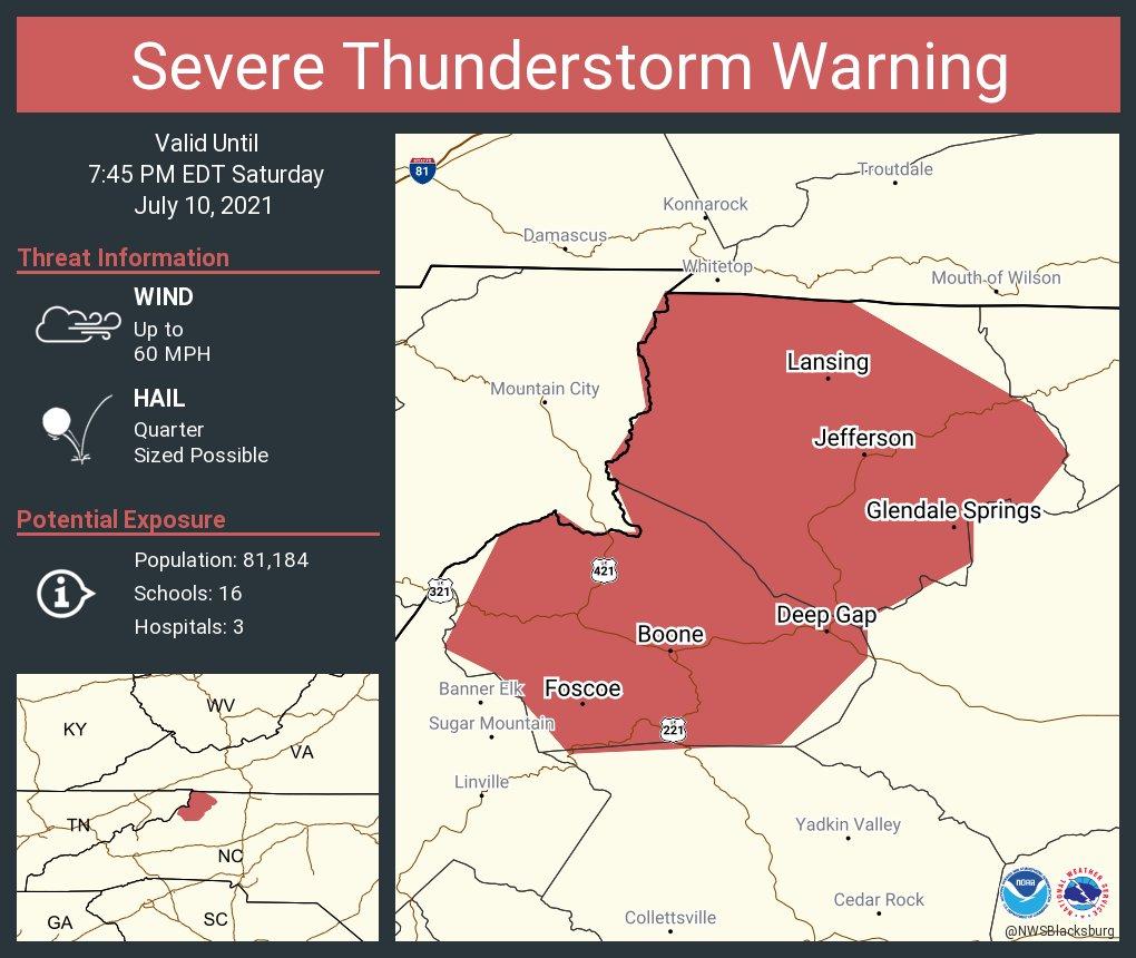 Severe Thunderstorm Warning for Watauga County, NC, Ashe County, NC - Saturday, July 10, 2021