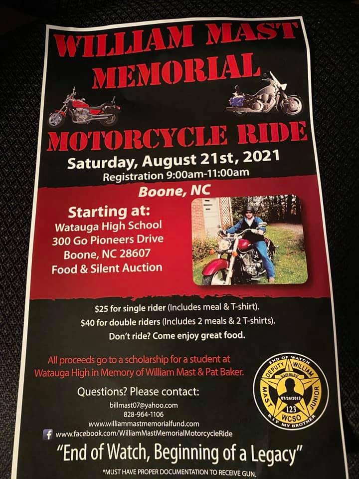 2021 William Mast Jr. Memorial Motorcycle Ride takes place Saturday August 21