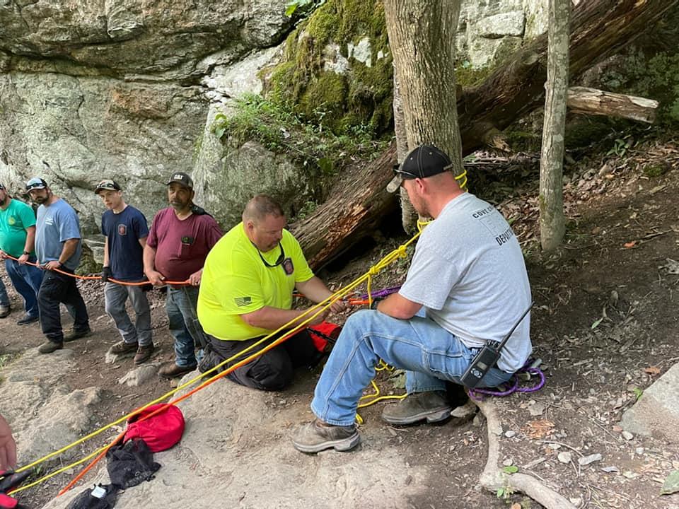 Local Fire Departments participate in rescue scenarios at Trash Can Falls