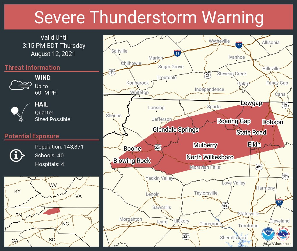 Severe Thunderstorm Warning for Watauga County, NC, Ashe County, NC, Wilkes County, NC -  Thursday August 12, 2021