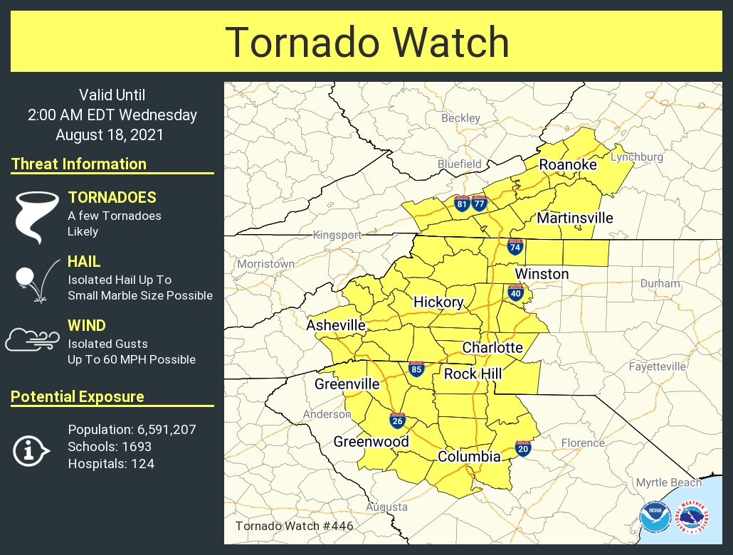 Tornado Watch extended to 2am Wednesday morning August 18, 2021